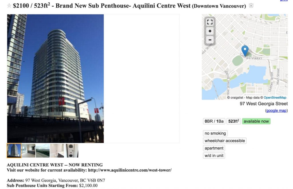 Craiglist apartment for rent above Rogers Arena