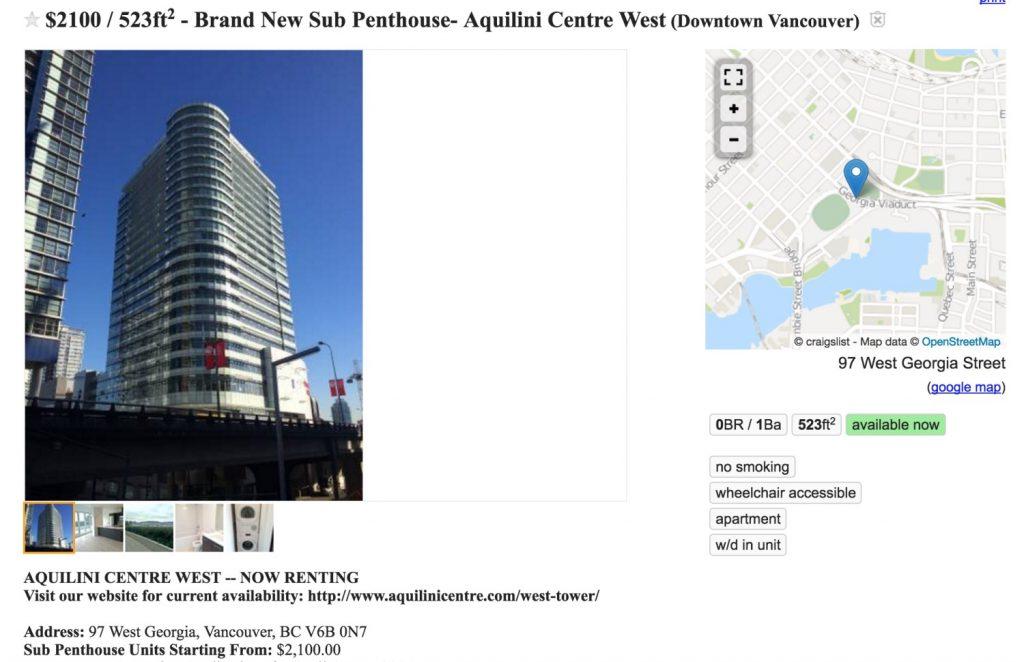 Craiglist apartment for rent above Rogers Arena