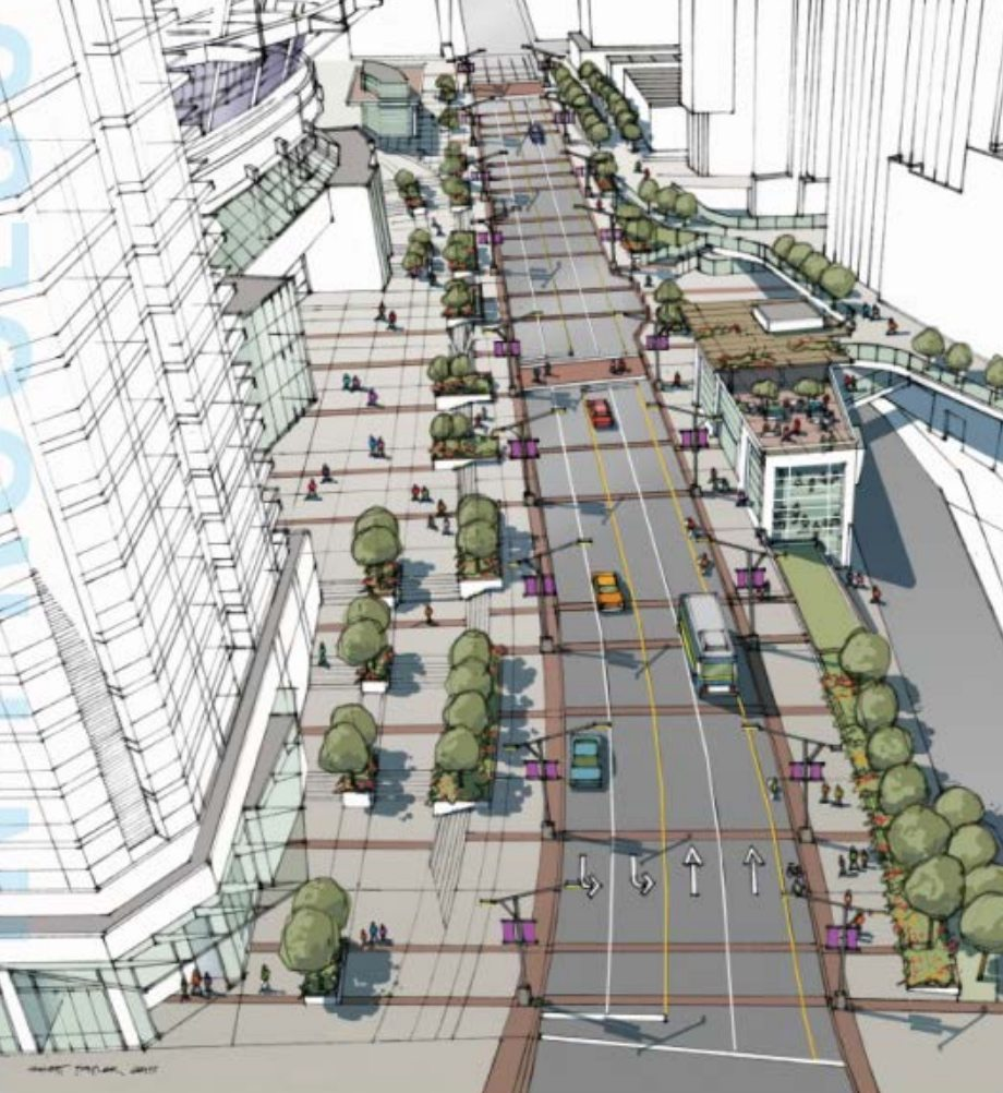 Viaduct removal rendering showing new Georgia Street