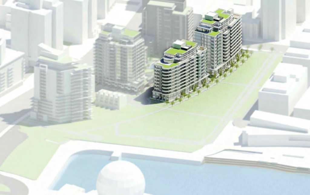 Rendering of the completed The Creek neighbourhood showing Voda at the left, and Navio highlighted on the right, along the new planned park stretching from Science World to East 1st Ave.