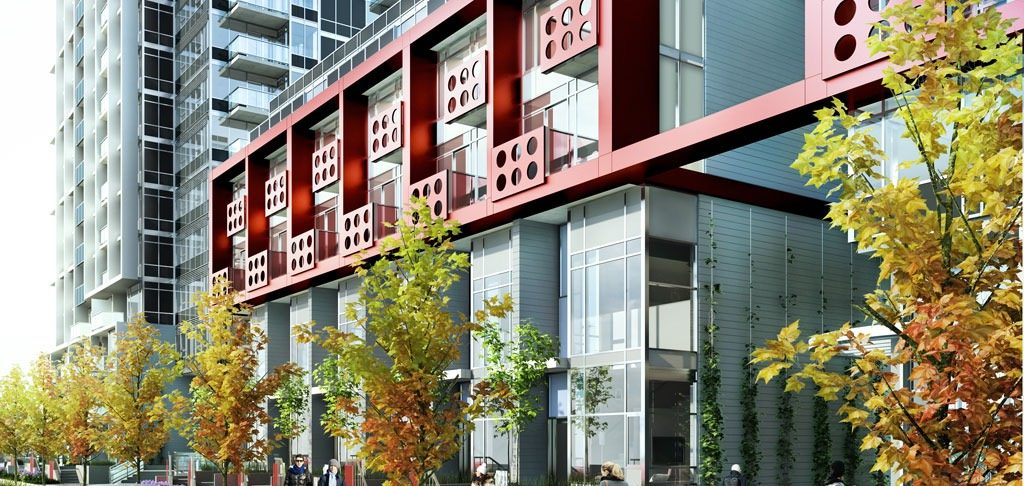 Rendering of the red balconies on Block 100 by Onni.