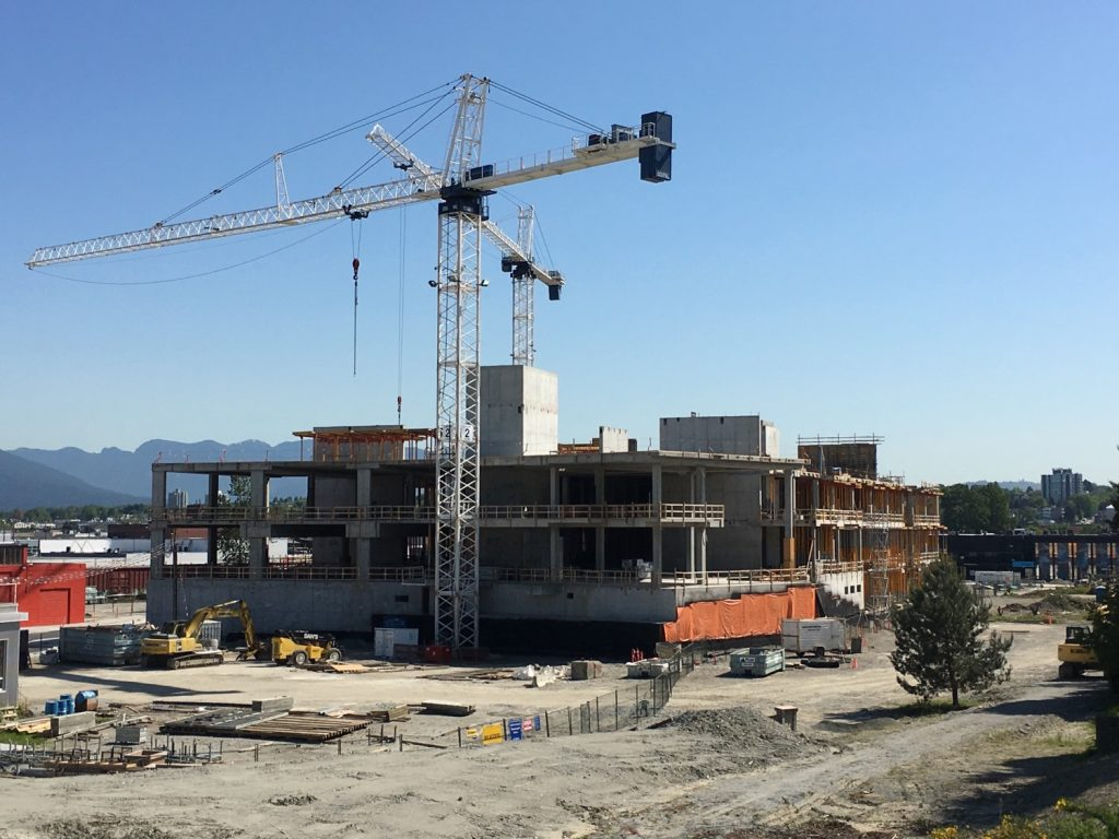 The new Emily Carr University of Art + Design is under construction off Great Northern Way and is scheduled to open in 2017.