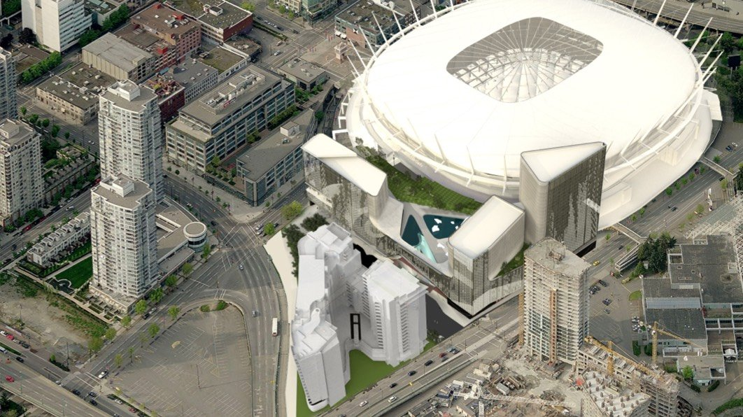 Rendering showing Parq Vancouver casino and hotel complex adjacent to BC Place Stadium.