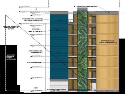 Rendering of the exterior of the shipping container housing by Atira.