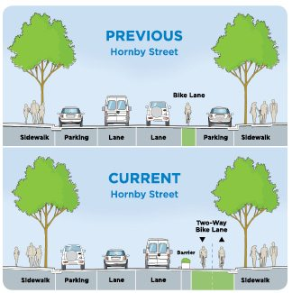 The protected bike lane is shown on Hornby Street, utilizing a planter to separate cyclists from traffic.
