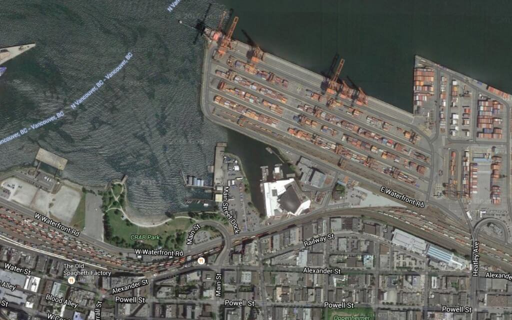Birds eye view of the Port of Vancouver today.