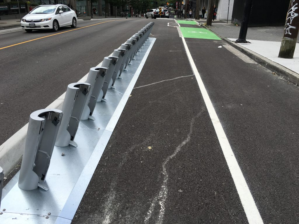 A Mobi bike share docking station has been installed at Cambie and Beatty in downtown Vancouver.