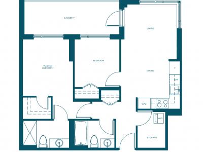 Navio at the Creek two bedroom floorplan