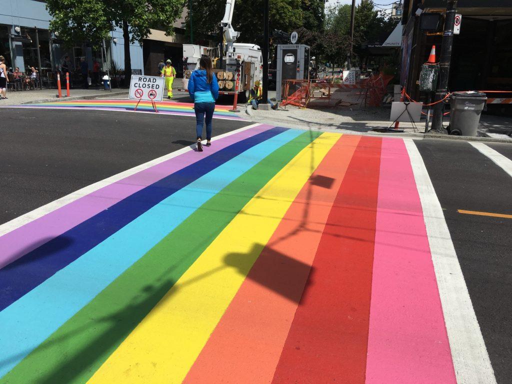 Davie St. rainbow crosswalks get fresh coat of paint