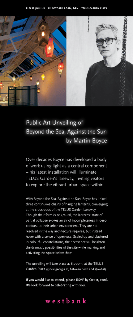 Westbank invitation to the unveiling of the lantern installation at the Telus Garden alley.