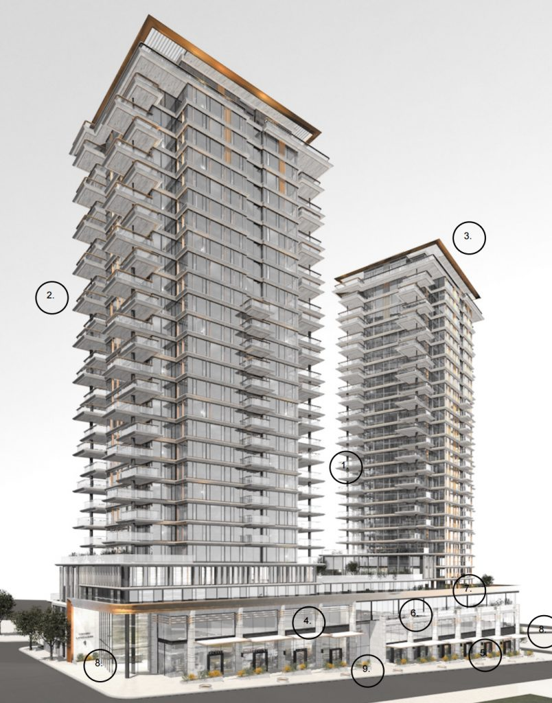 The Empire Landmark Hotel on Robson Street in Vancouver's West End will be demolished and replaced by two new condo towers, with office space and social housing in the podium. Credit: Musson Cattell Mackey Partnership