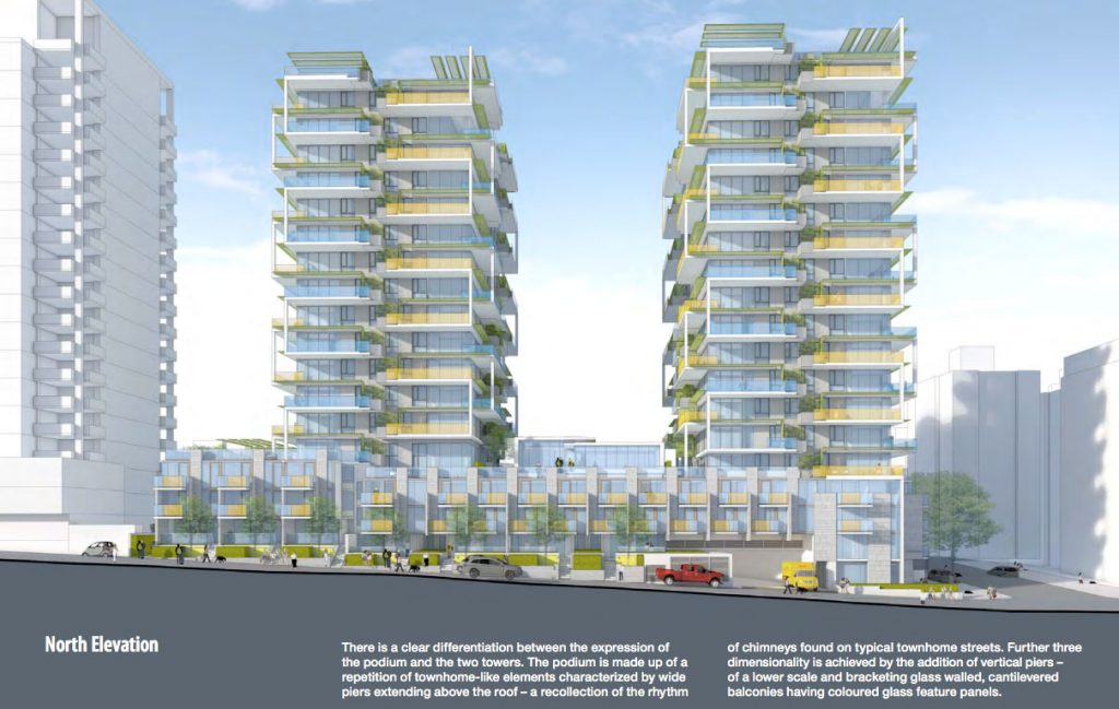 Marcon is planning on developing two new 18 and 19 storey residential towers containing 153 condo units, as well as 68 social housing units in the podium.