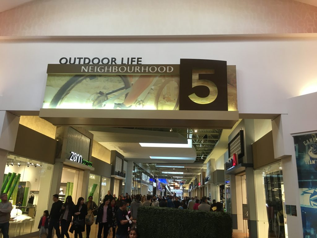 Entrance to the Outdoor Life neighbour at Tsawwassen Mills, home to Bass Pro Shops Outdoor World, the main attraction at this sprawling new mall.