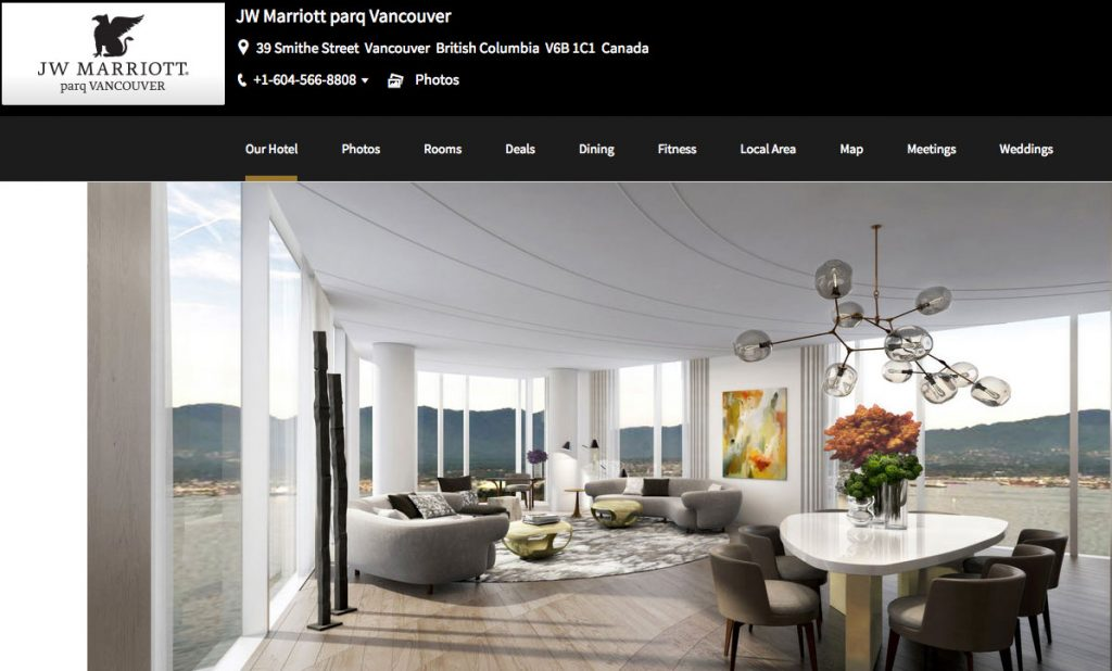 JW Marriott Vancouver hotel website