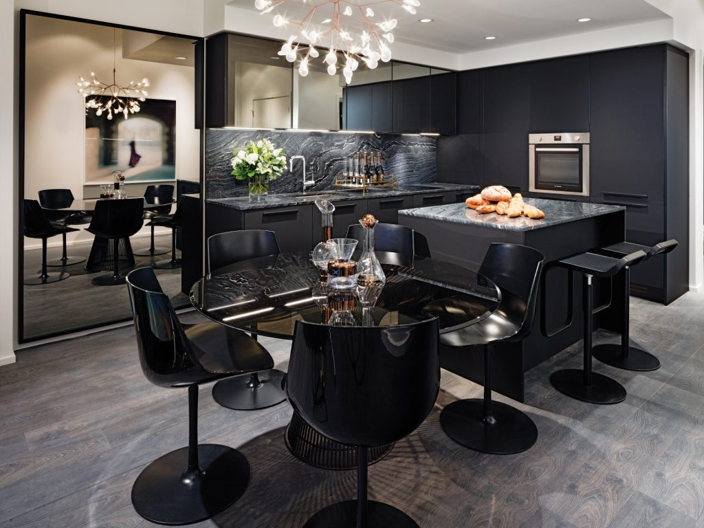 Kitchen in dark colour scheme