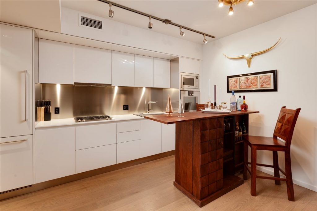 Kitchen with small dining area.