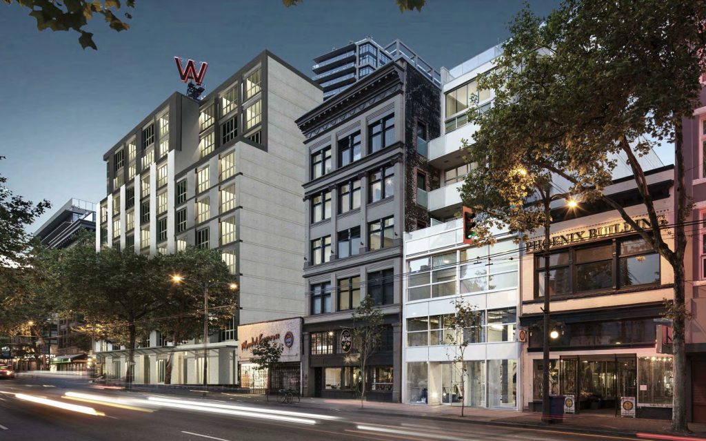 Rendering of new rental apartment building in Gastown