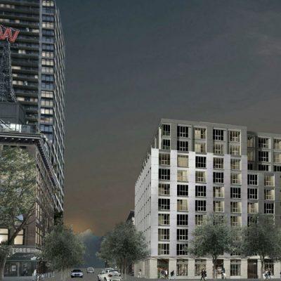 Rendering of new rental apartments in Gastown