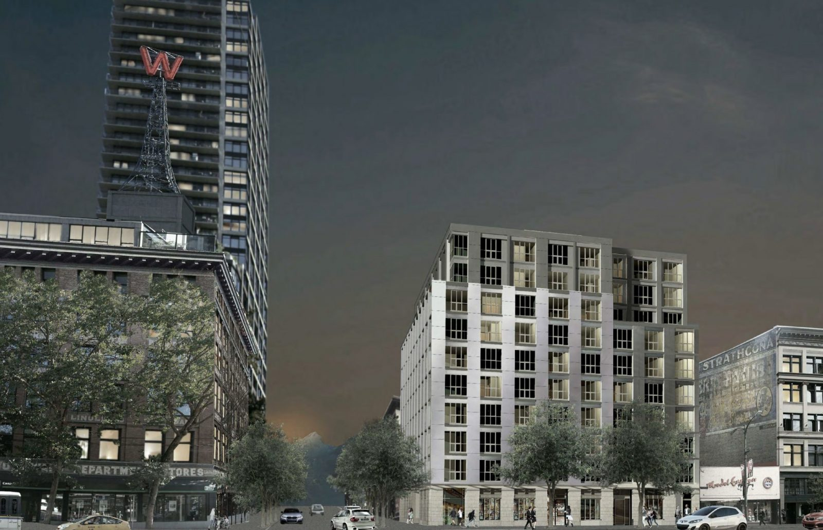 Rendering of new rental apartments in Gastown