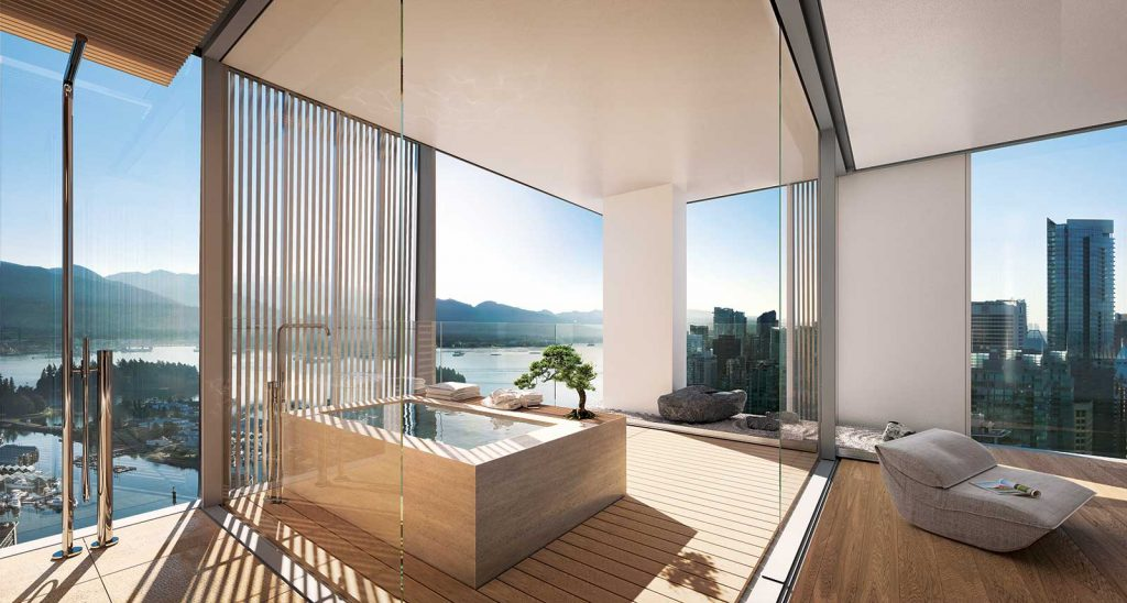 Japanese soaking tub at Alberni by Kengo Kuma - 1550 Alberni