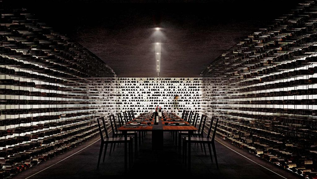 Wine room at Alberni by Kengo Kuma - 1550 Alberni