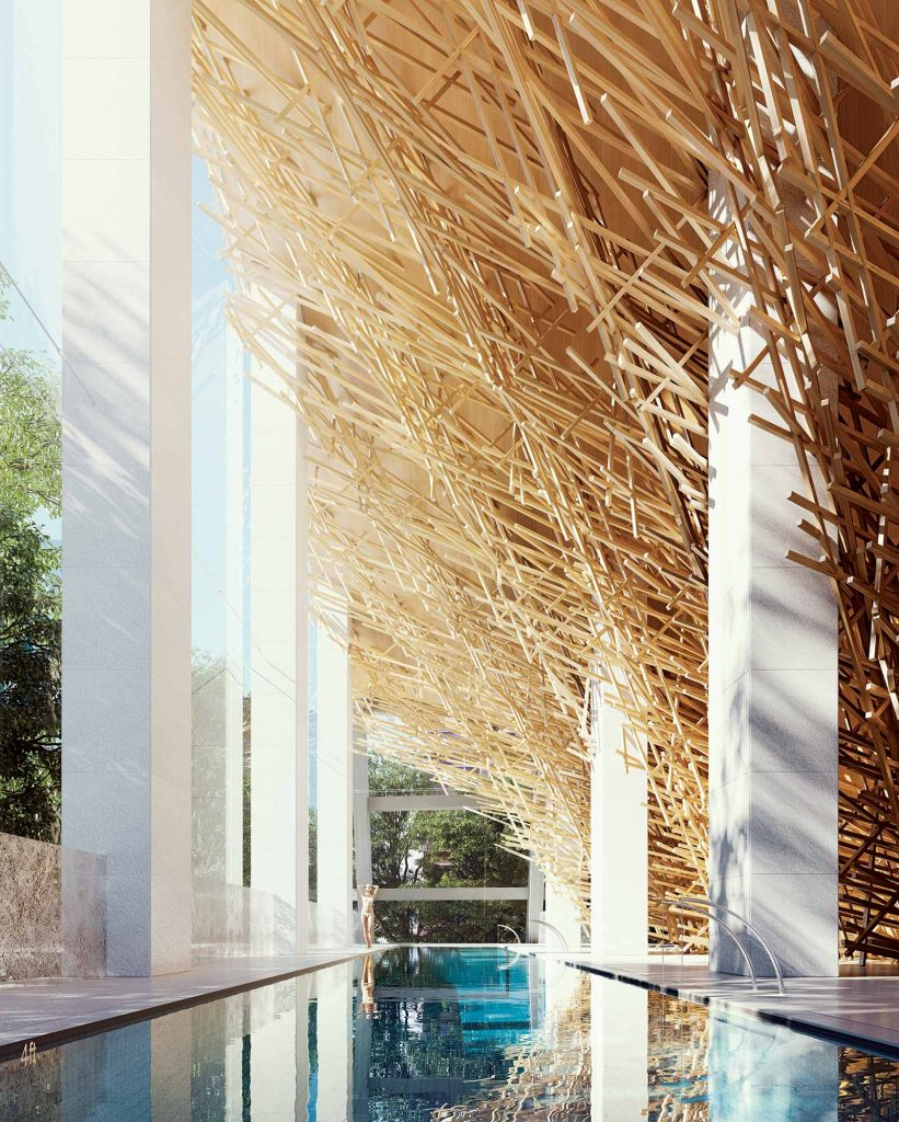 Indoor swimming pool at Alberni by Kengo Kuma - 1550 Alberni
