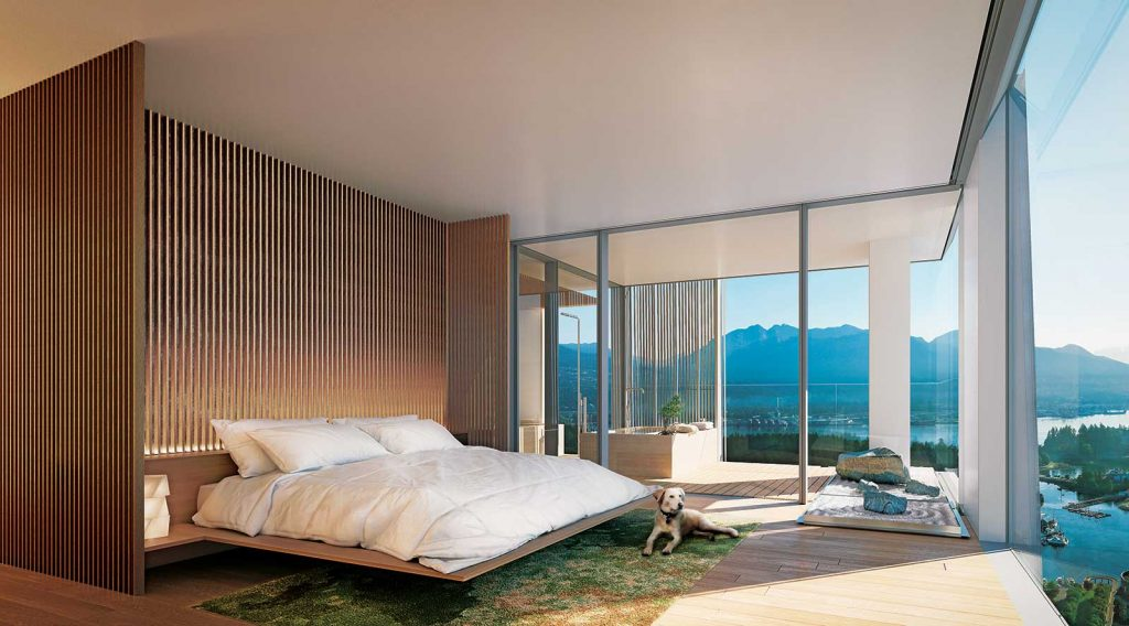 Master bedroom at Alberni by Kengo Kuma - 1550 Alberni