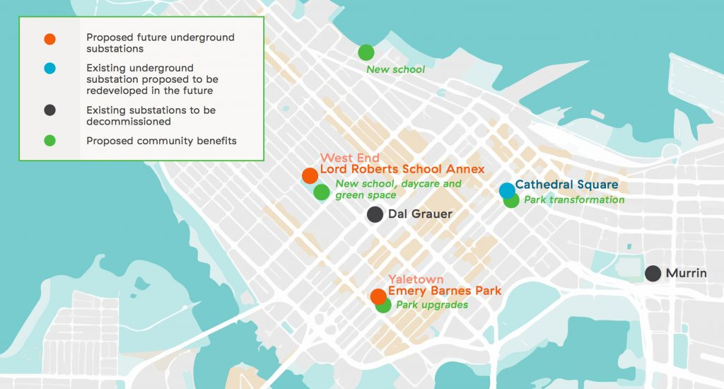 Map of substations BC Hydro downtown Vancouver