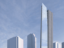 Flat Iron Tower Vancouver rendering day