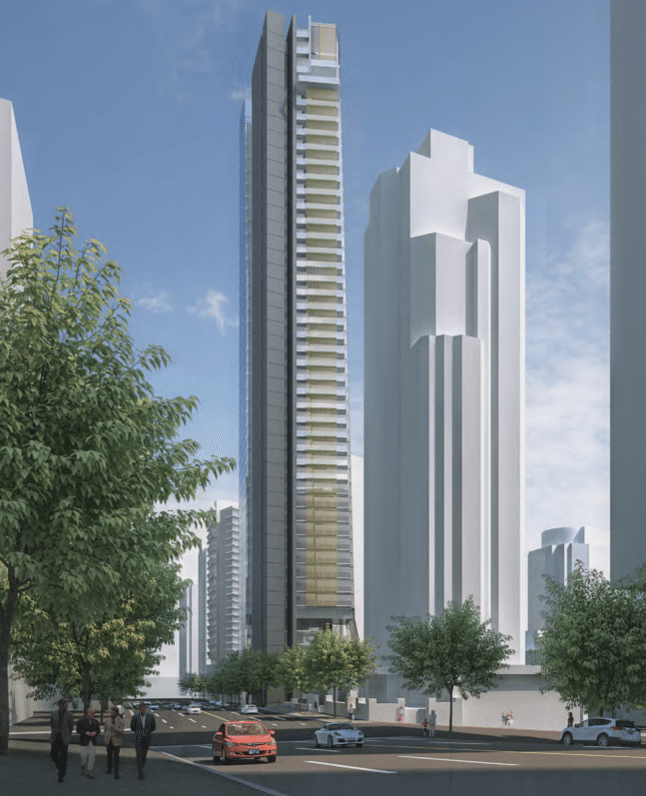 Flat Iron Tower Vancouver rendering looking west