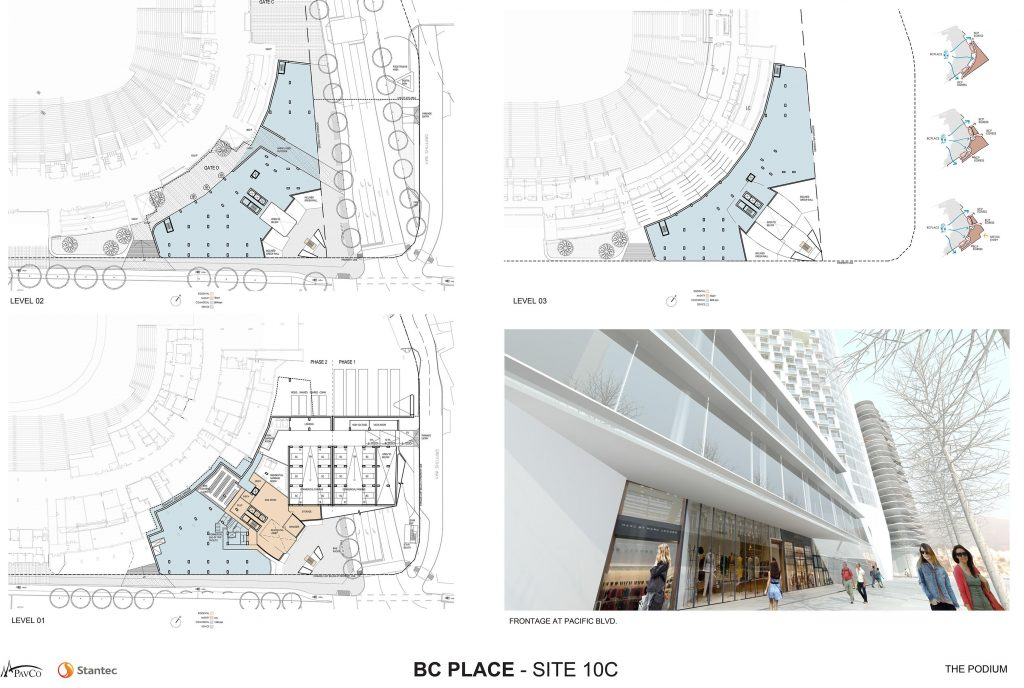 Floor plans for lobby and commercial area