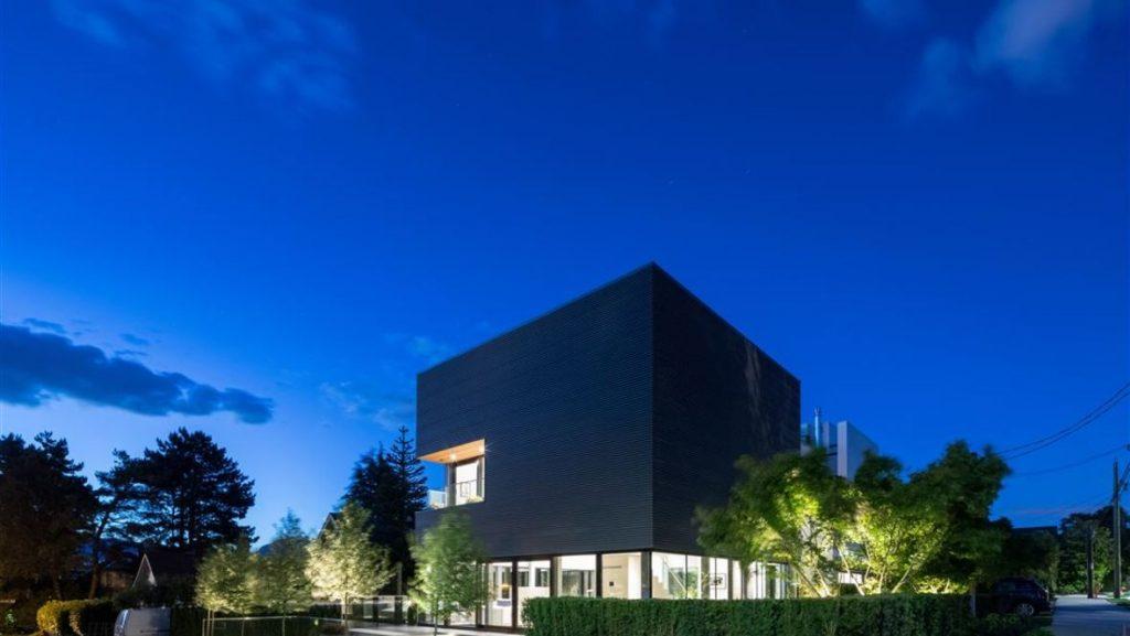 Cube house at dusk