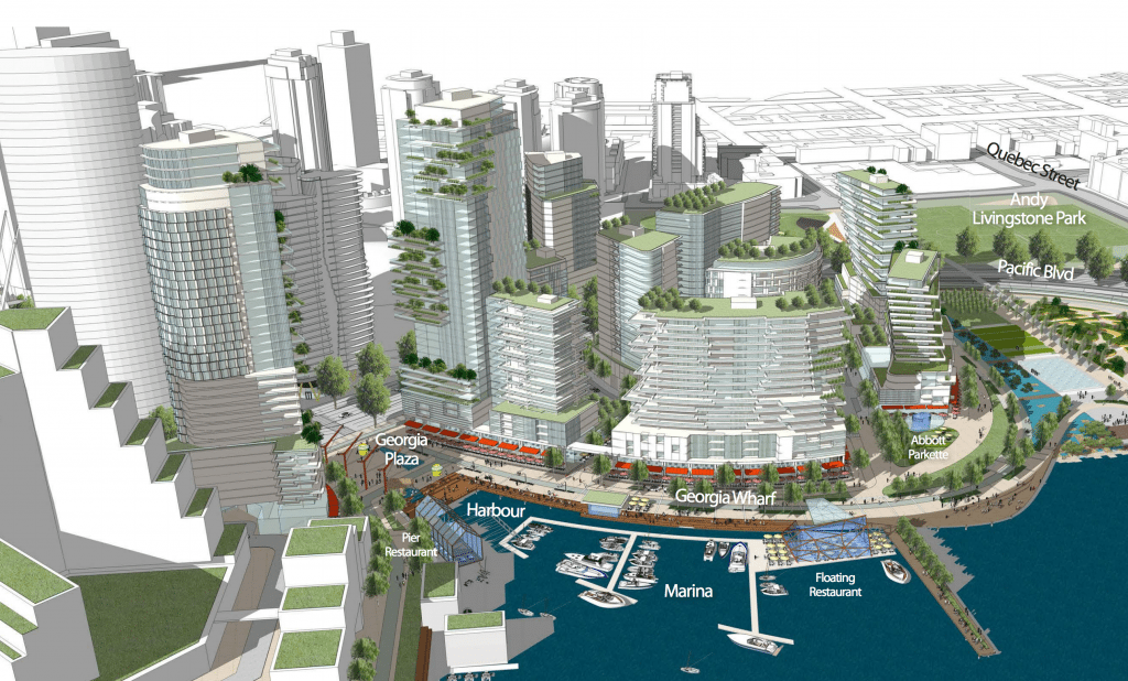 View of proposed neighbourhood, to be developed by Concord Pacific