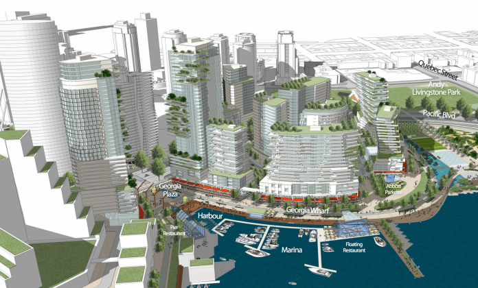 NEFEC Waterfront Entertainment District view from Cambie Bridge