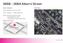 Open house notification for an upcoming development by Westbank at 1668 Alberni Street.