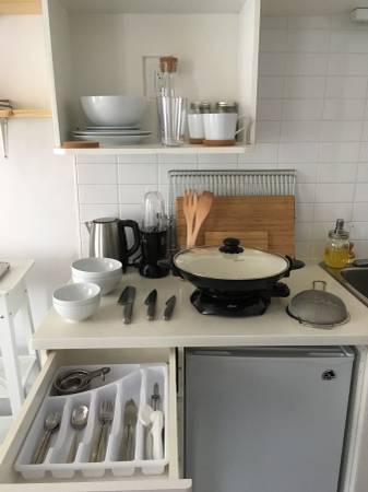 Bar fridge and hot plate