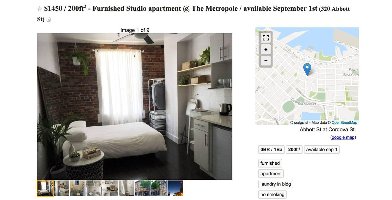 1 450 For 200 Square Feet Apartment In Gastown Urbanyvr