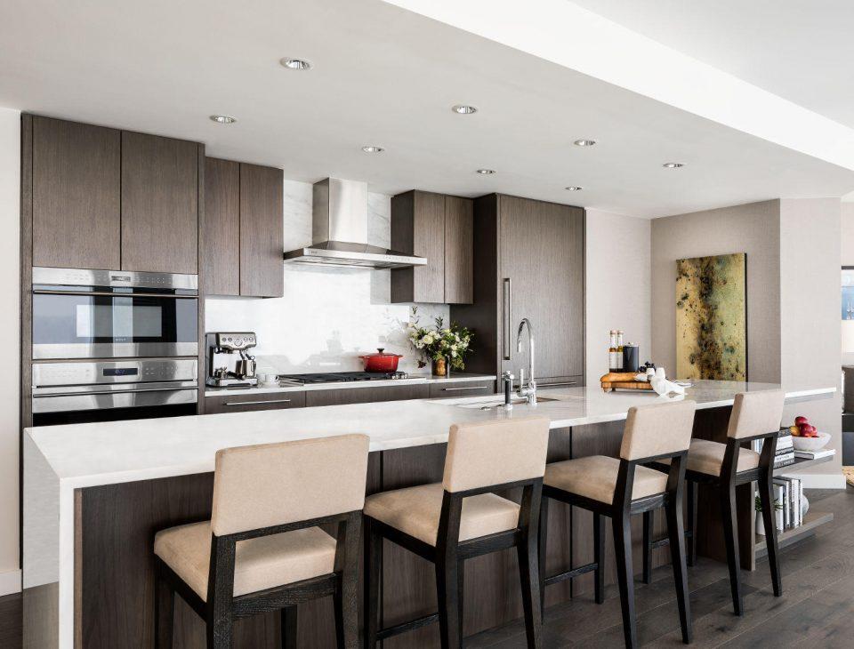 Kitchen in dark colour scheme