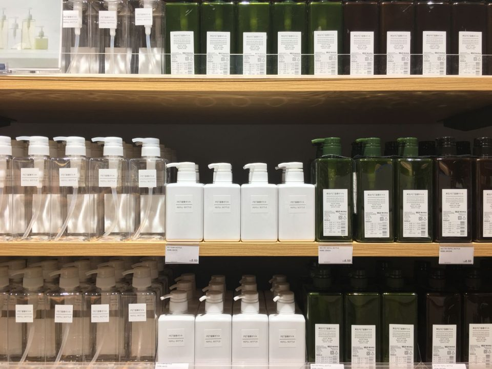 MUJI soaps and moisturizers
