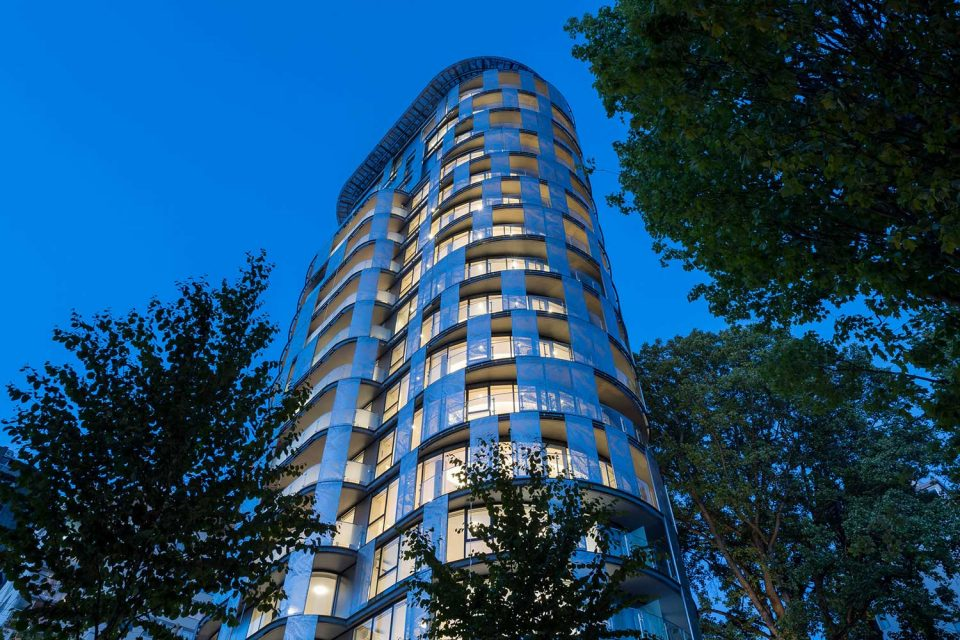 1245 Harwood Vancouver exterior at night