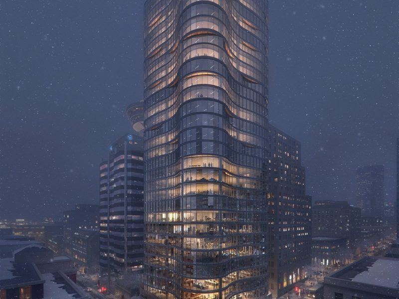 Rendering of the Bosa Waterfront Centre on a snowy winter's day