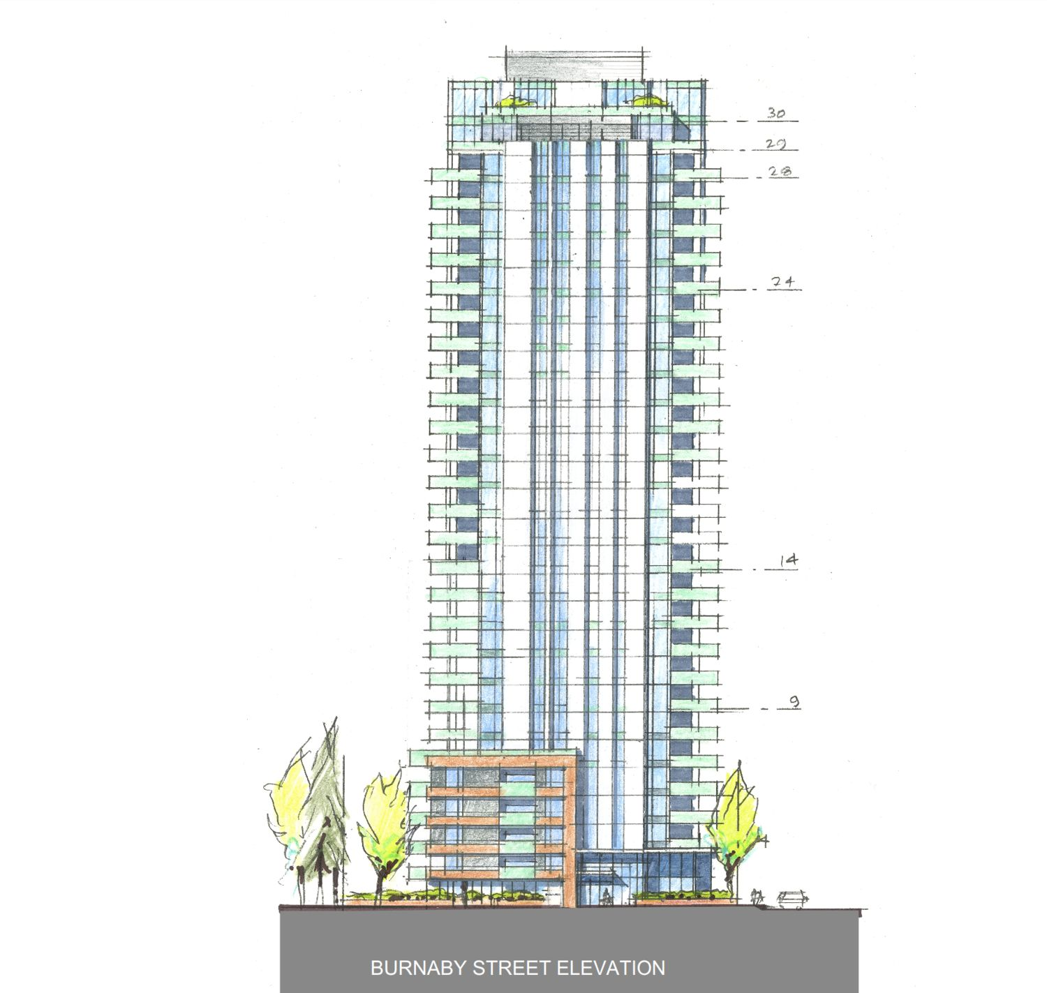 1068-1080 Burnaby Street and 1318 Thurlow Street tower drawing