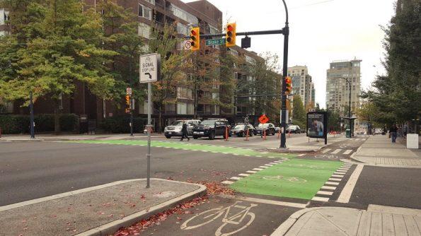 Bike lanes Burrard Street Bridge Corridor