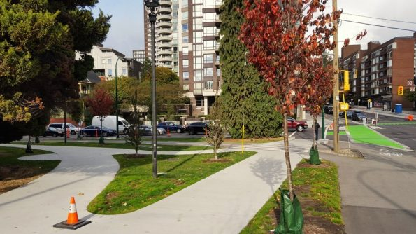 Improved sidewalks at Pacific and Burrard