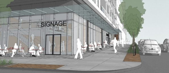 Enhanced Public Realm - Looking South along Main Street from East 6th Avenue