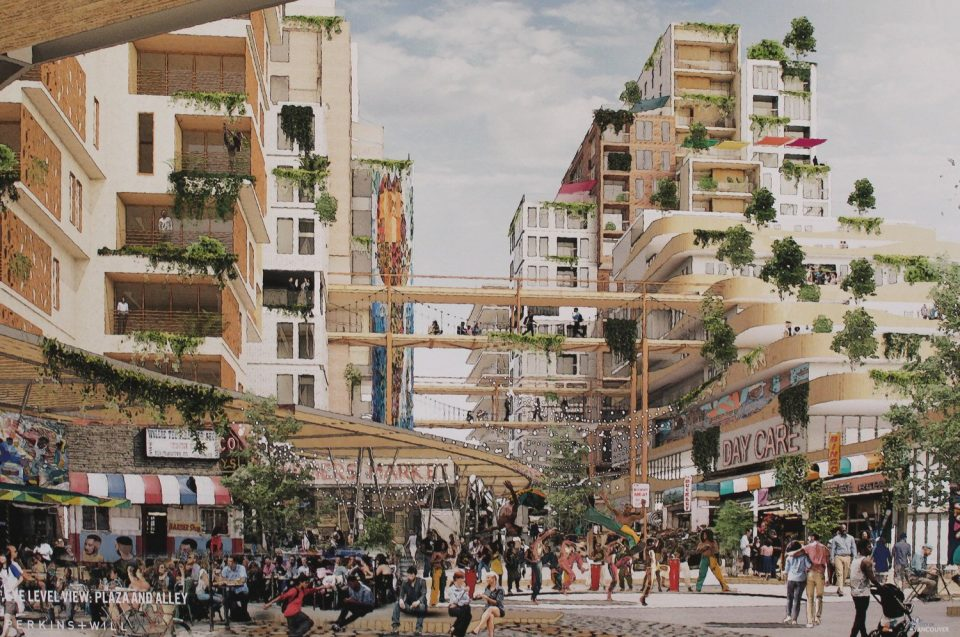Rendering of the plaza at Hogan's Alley.
