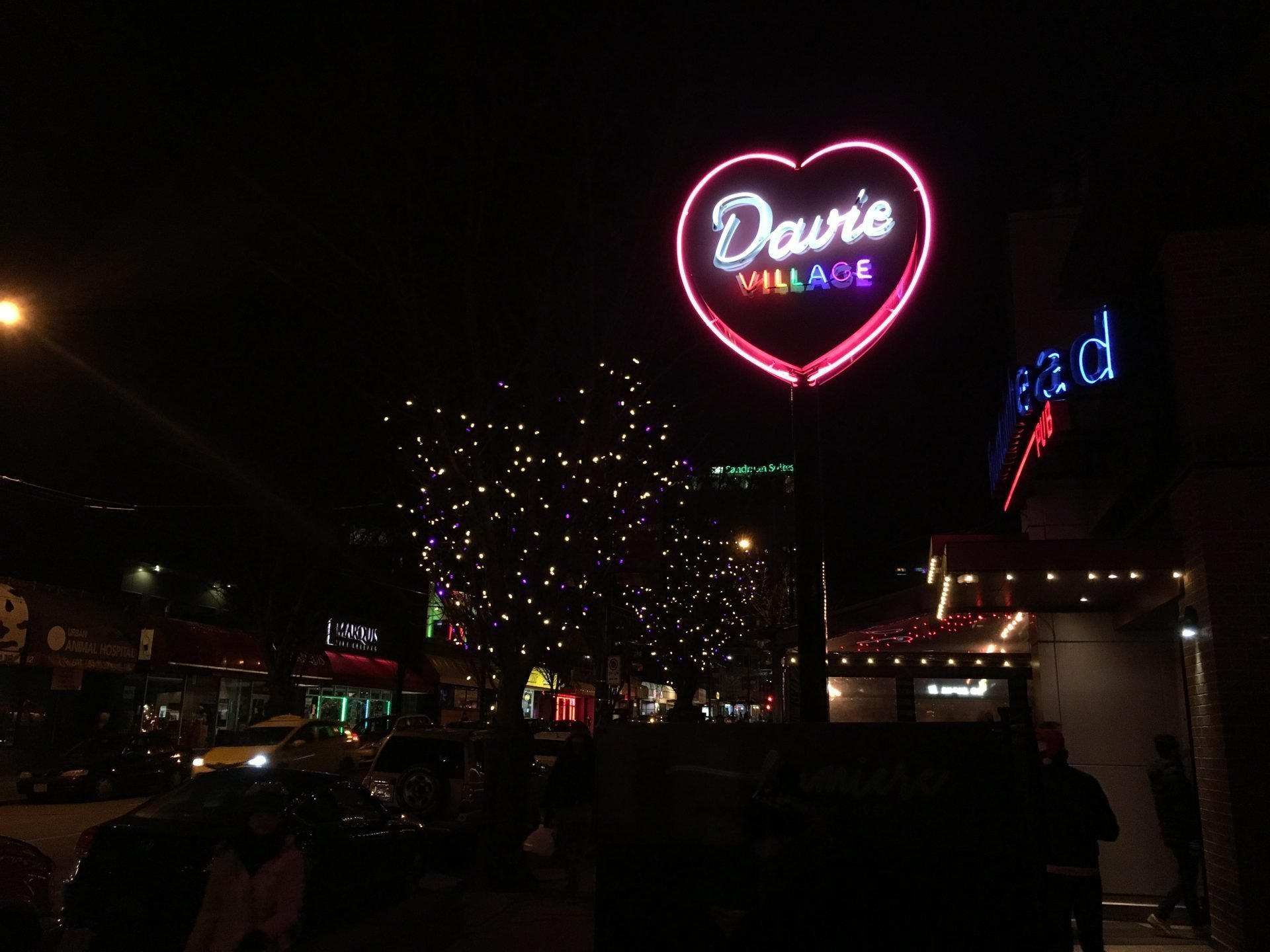 'Heart of Davie Village' neon sign
