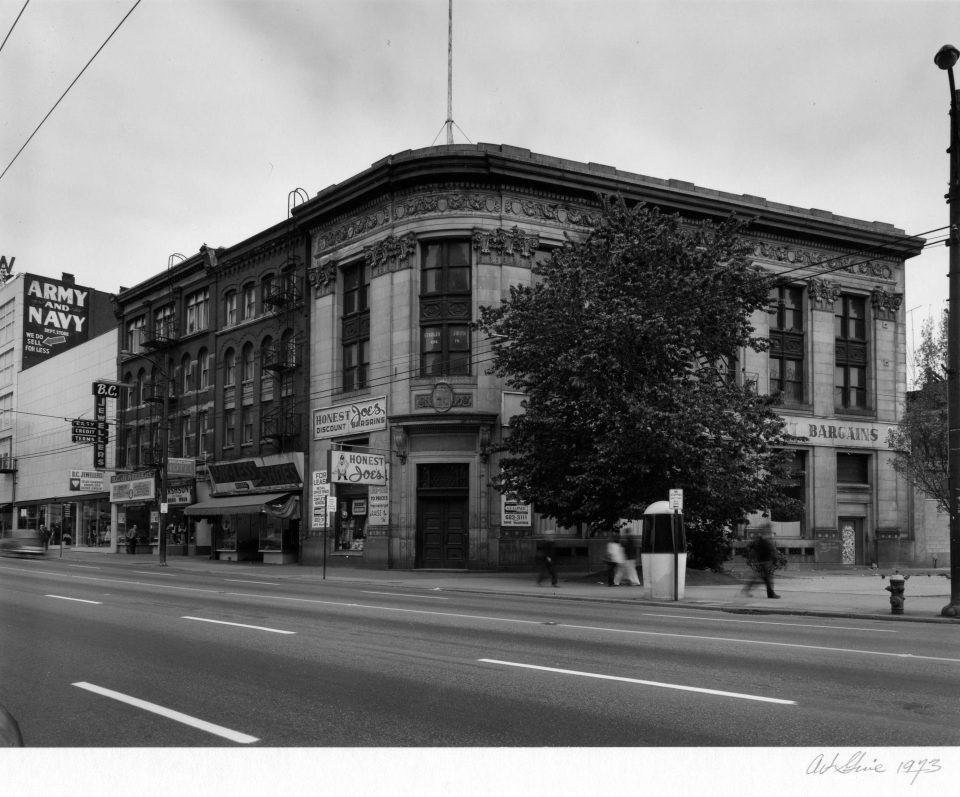 Restored Merchants Bank building in front of Pigeon Park up for lease