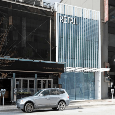 New retail space proposed for 1042 Alberni Street, the current home of Kobe Steakhouse.