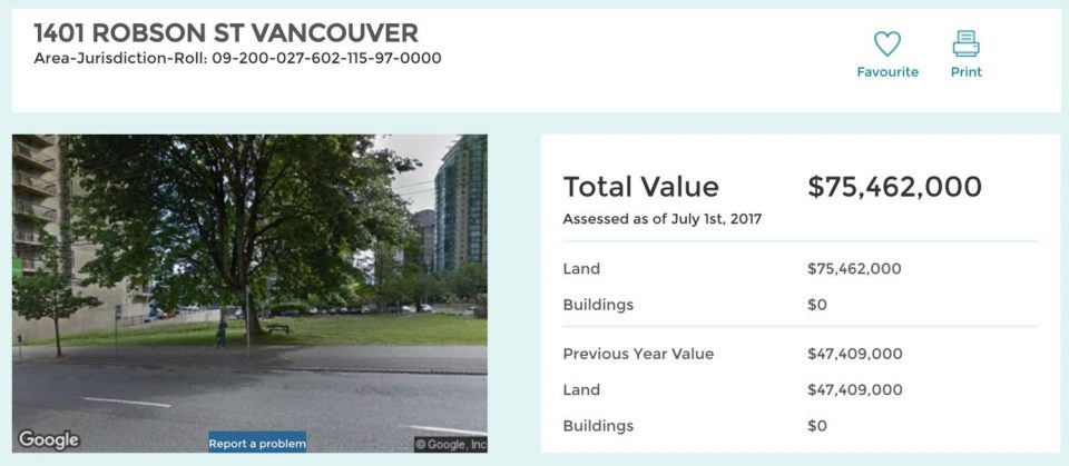 Vacant lot Robson Street value